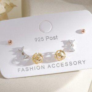 [3 Pairs] 925 Sterling Silver Diamond Earrings B